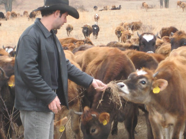 Jordan Rubin with Cattle